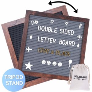 "Felt Letter Board 12""x12"" Double Sided Letter Board with 730 Pre-Cut White & Gold Letters"