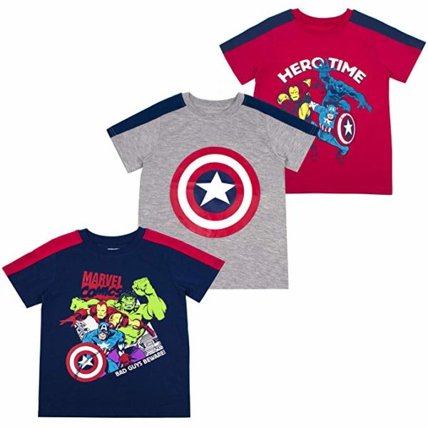 Marvel Boys 3-Pack T-Shirts: Spiderman & Avengers Superheroes