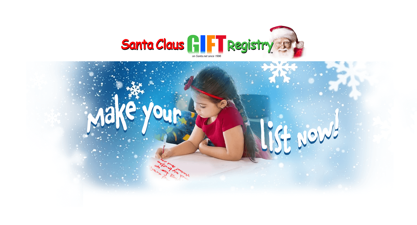 santa claus gift registry making Christmas wish list